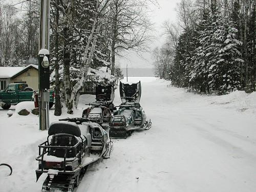 Snowmobiles on Lane