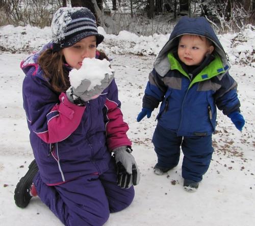 Charlet Eating Snow